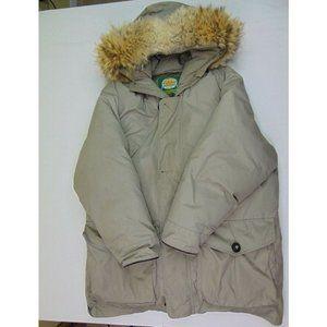 Cabelas Men L Parka Jacket Goose Down Fur Hood Puffer Coat Arctic Winter Beige